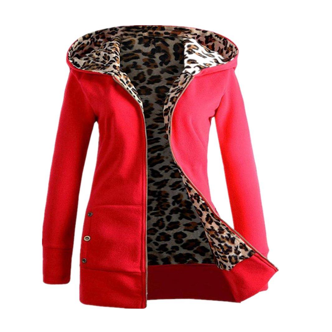 Willsa Womens Plus Size Hooded Outwear, Thicker Velvet Leopard Zipper Coat