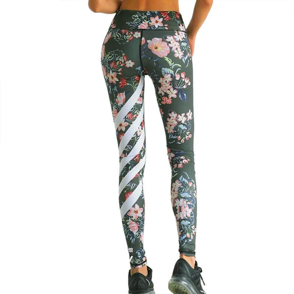 Yoga Pantaloni da Donna,Sonnena Pantaloni Sportivi da da da Donna con Stampa Yoga Leggings da Ginnastica da Allenamento con Stampe Floreali Pantaloni Sportivi a Strisce Fitness (XL, Verde Army)  Verde Army 0da525