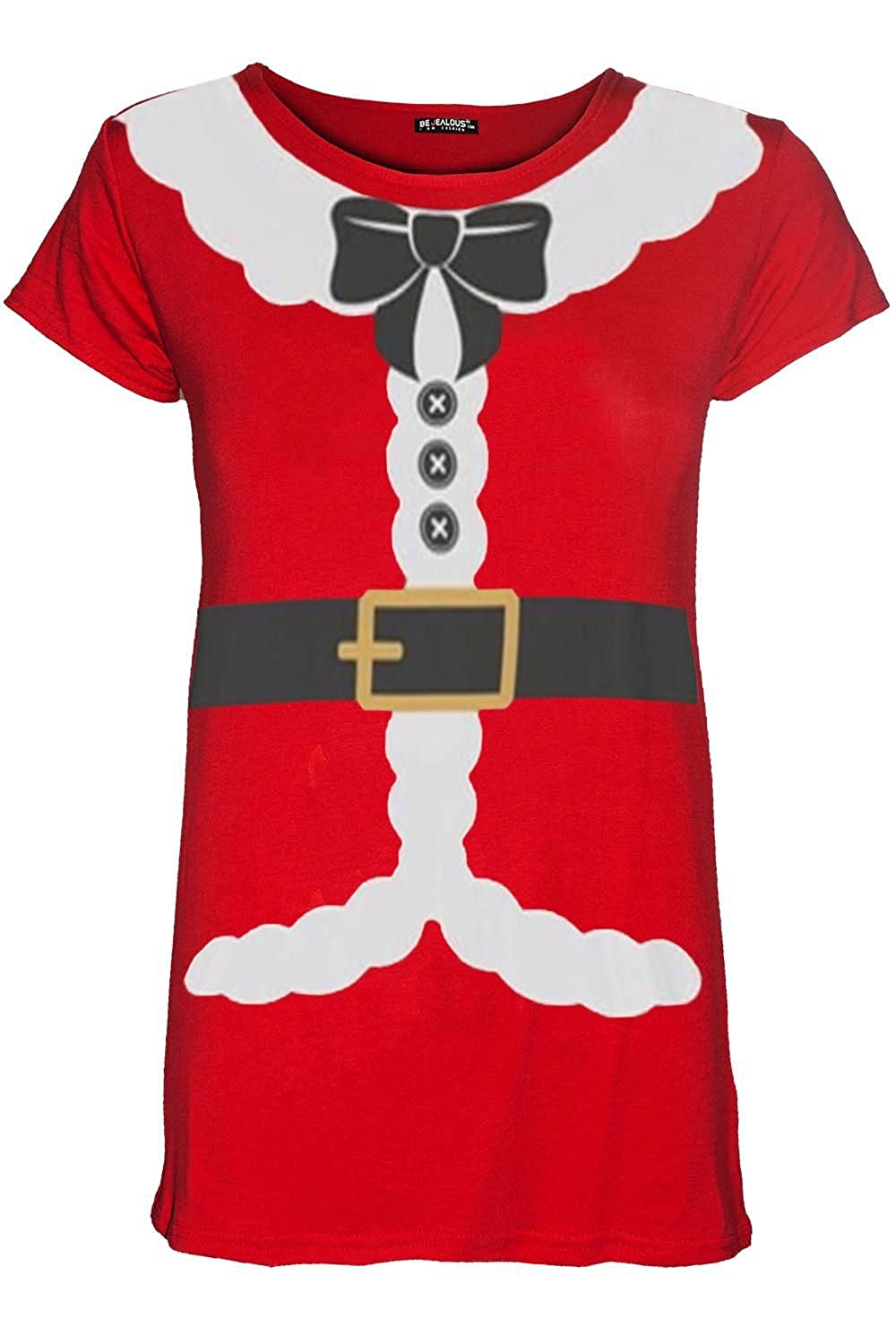 Oops Outlet Kids Girls Christmas Xmas Santa Claus Father Suit Ribbon Belt Costume Tshirt Top