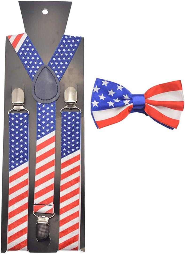 Changdret Uomo Donna Bretelle America Usa Bandiera Bretelle Papillon Set Papillon per adulto