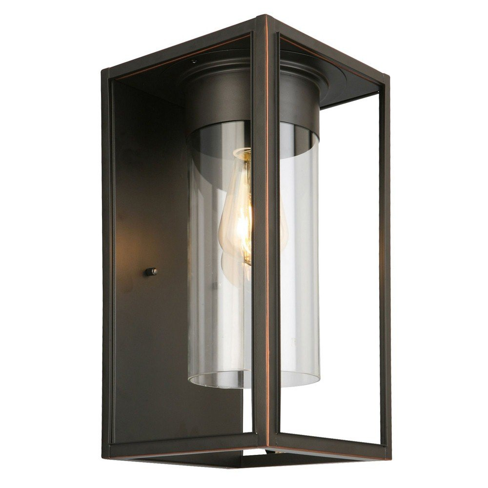 Eglo 1x60W Outdoor Wall Light w/Oil Rubbed Bronze Finish & Clear Glass