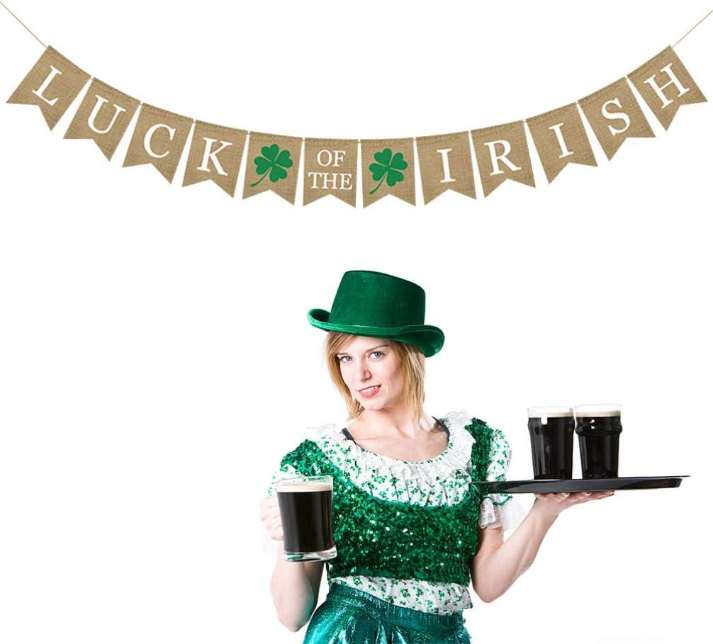 1 Cm Holibanna Glitter Shamrock Garland Banner Arpillera Banner Irland/és Decoraci/ón para El Hogar St Patricks Day Decorations for Livingroom Garden Decor 17 X 13 X 0