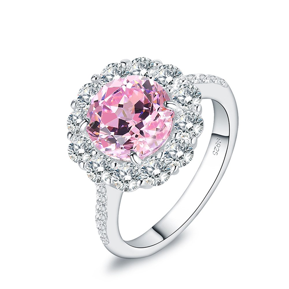 Mozume Pink CZ Halo Ring Anniversary Engagement Promise 925 Sterling Silver Flower Style For women (8)