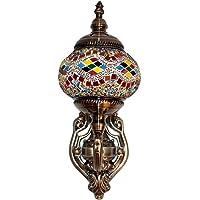 Lámpara Turca de Pared Decorativa Mosaico Oriental de Vidrio Multicolor para Interior Exterior Led Bombilla Incluida…