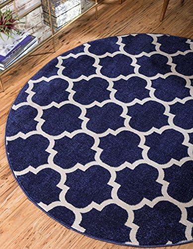 Unique Loom Trellis Collection Moroccan Lattice Dark Blue Round Rug 6 0 x 6 0