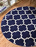 Unique Loom Trellis Collection Moroccan Lattice Dark Blue Home Décor Round Rug (3′ x 3′) For Sale