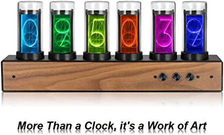 4YANG Digital Tube Clock Convient pour Tube Clock Gifts for Friends and Children Creative Digital 10,000-Color Adjustable LED Glow Tube Clock Gixie Clock with Magnetic Design