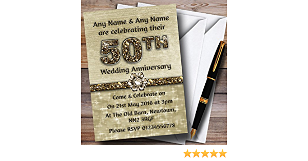 Titanium Gold Sparkly 50Th Personalised Birthday Party Invitations