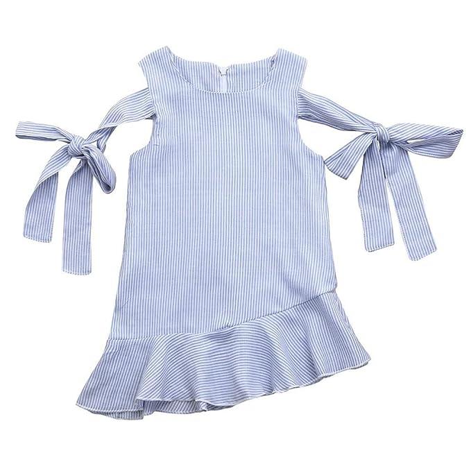 PAOLIAN Vestidos para bebe niñas Verano 2018 princesa Vestidos Impresion Rayas Cuello redondo Sin Manga fiestas