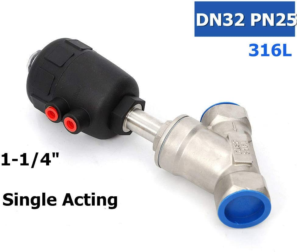 """1-1//2/"""" NPT Stainless Steel 304 Double Acting Air Actuated Angle Seat Valve"""