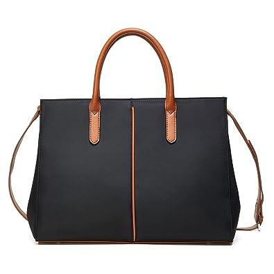 9114a87fae4 Lecxci Women's Satchel Large Capacity Waterproof Tote Bag Oxford Nylon  Shoulder Handbags (L, Black