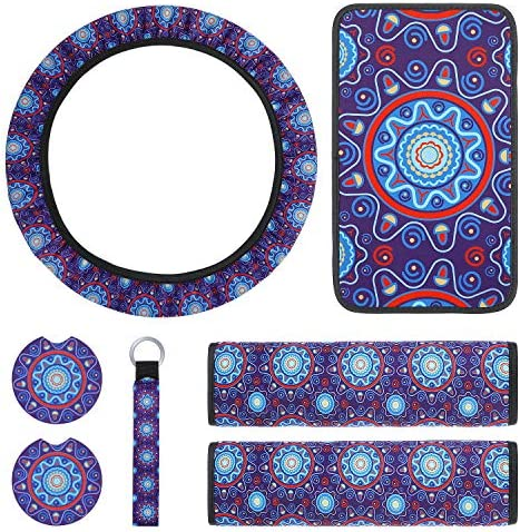 7 Pieces Mandala Style Car Accessories Set, Includes Steering Wheel Cover, Center Console Armrest Pad Cover, 2 Pieces Seat Belt Shoulder Pad, 2 Pieces Car Cup Holder Coaster, Wristlet Lanyard Keychain