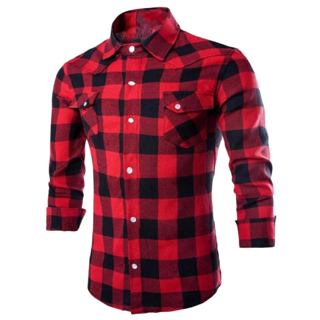 YUNY Mens Funny Big and Tall Classic Tops Grid Woven Dress Shirts Red M