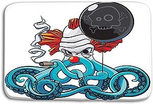 "eiquISs Kitchen Floor Bath Entrance Door Mats Rug Octopus Bad Clown Colourful Angry Smoking Cigar Black Balloon his Tentacles Isolated White Non Slip Bathroom Mats 23.6""x 15.7"""