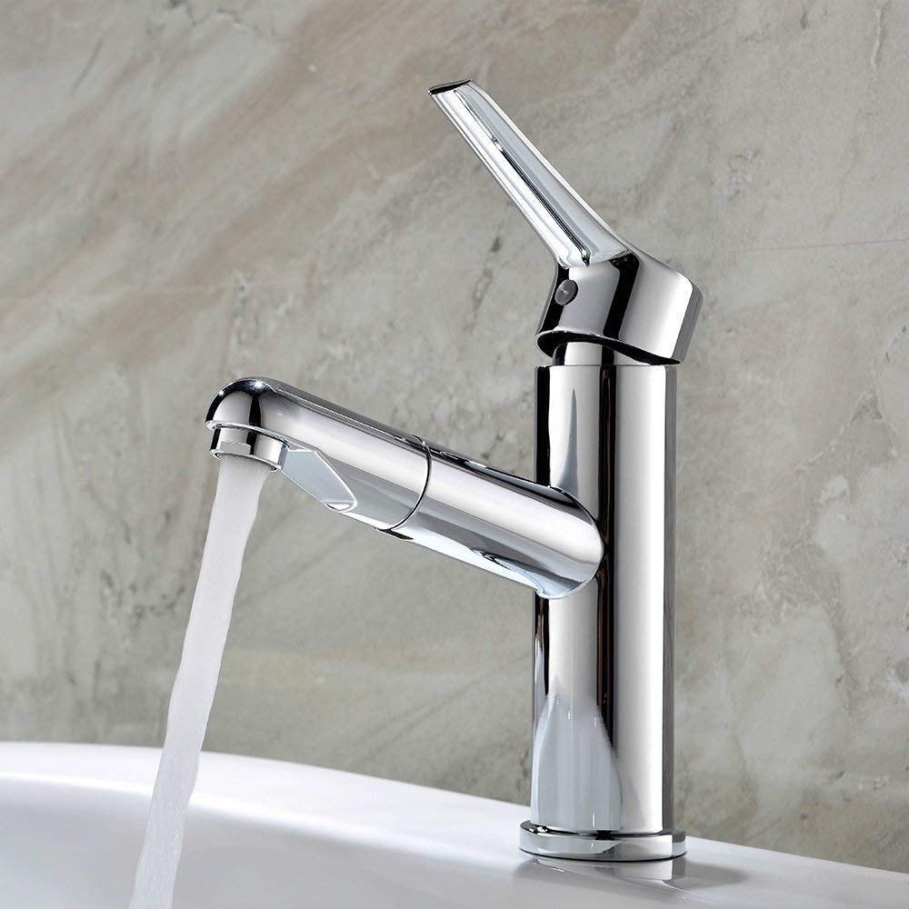 Eeayyygch Wasserhahn Pull-Out einzigen Loch Waschbecken Wasserhahn heiß und kalt alle Kupfer Bad WC Waschbecken Badezimmer Armaturen (Farbe   -, Größe   -)