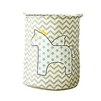 LifenewBaby, contenitori cilindrici in tela di cotone per la casa raffiguranti animali dei cartoni animati, contenitori portaoggetti, giocattoli per bambini, portabiancheria pieghevoli, 40 x 50 cm, raffigurante un cavallo