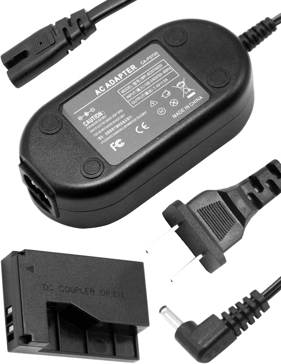 HQRP AC Power Adapter for Canon ACK-E15 EOS Rebel SL1 eos Kiss X7 eos 100D