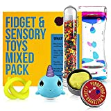 Fidget Toys Mix Pack - Mixed Pack of 5 Sensory Toys Stress Relief Includes Liquid Motion Timer, Slow Rising Squishy Toy, Colour Changing Therapy Putty Kids, Stretchy Noodle, Kids Water Beads