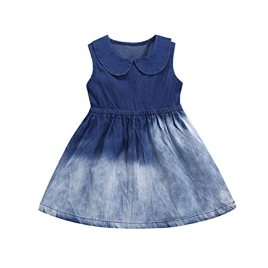 0fd8cd8b06 Clemunn Cute Kids Baby Girls Clothes Set,Toddler Infant Baby Girls Dress  Solid Princess Denim Sleeveless Dresses Clothes  Amazon.co.uk  Clothing