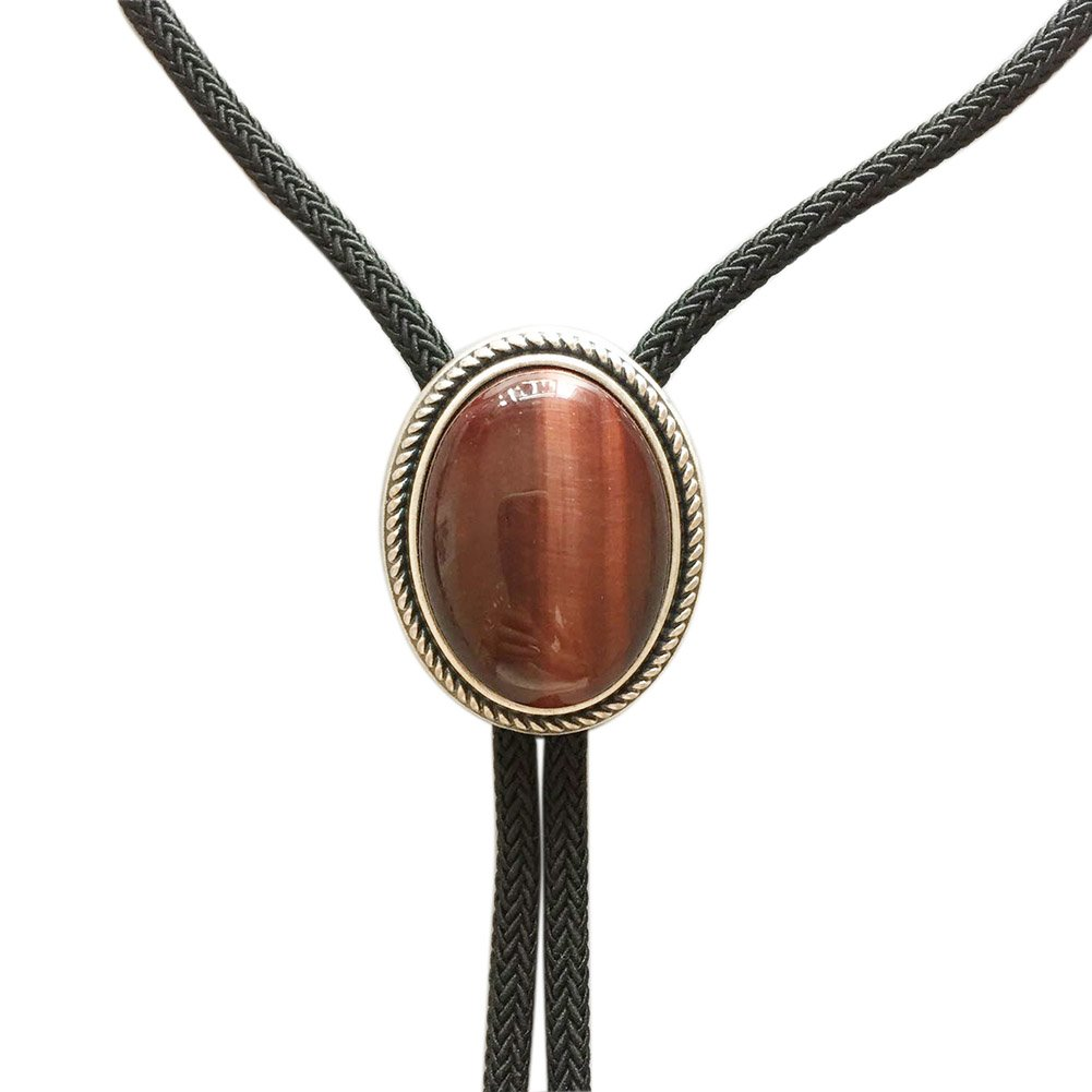 Vintage Silver Plated Nature Red Tiger Eye Stone Western Oval Bolo Tie Stock in US