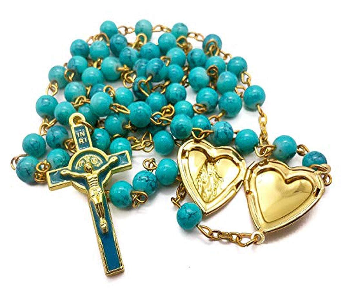 Nazareth Store Chapelet Saint Beno/ît Perles De Verre Turquoise Collier Saint Catholique Croix Croix M/édaille NR St San Benito