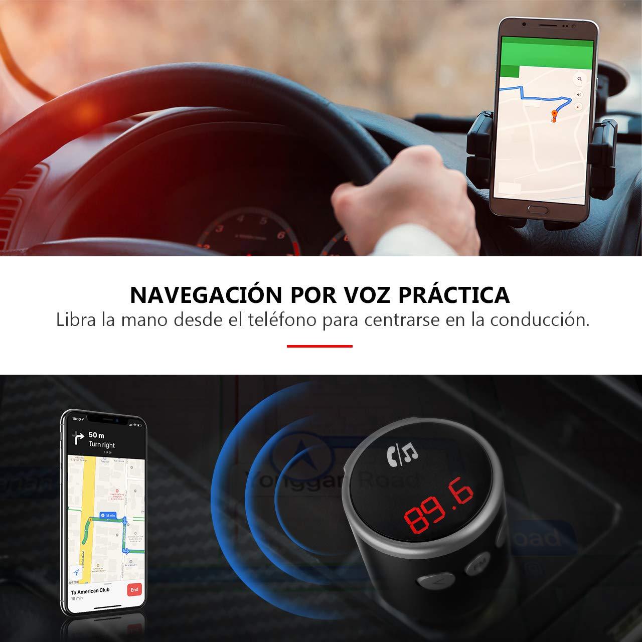 Victsing transmisor manos libres Bluetooth para Coche Adaptador de Radio Inal/ámbrico Bluetooth 4.2 QC3.0 Dual Cargador USB Mini Transmisor fm coche Bluetooth Mp3 Reproductor M/úsica para iOS//Androi