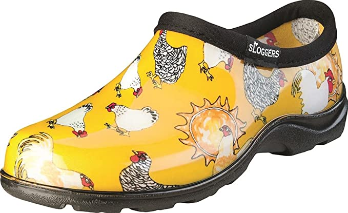 Sloggers Women's Waterproof  Rain and Garden Shoe with Comfort Insole, Chickens Daffodil Yellow, Size 7, Style 5116CDY07