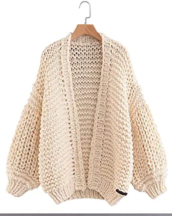 510d20f079 Gamery Women Knit Cardigan Sweaters Open Front Long Sleeve Beige at ...