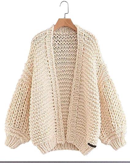 15961033f Gamery Women Knit Cardigan Sweaters Open Front Long Sleeve Beige at ...