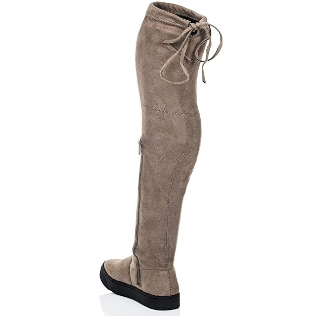 Spylovebuy Karoo Damen Schnür Flache Overknee Stiefel  Amazon.de  Schuhe    Handtaschen 549816a09e