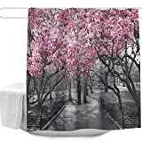 "landscape design pictures Blossoms In Central Park Cherry Bloom Trees Forest Spring Springtime Landscape Picture Design Shower Curtain,Waterproof&Antibacterial&Eco-Friendly,Non Toxic,Odor Free,Rust Proof Grommets 72""x72"""