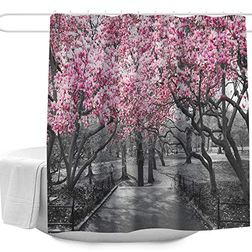 "Blossoms In Central Park Cherry Bloom Trees Forest Spring Springtime Landscape Picture Design Shower Curtain,Waterproof&Antibacterial&Eco-Friendly,Non Toxic,Odor Free,Rust Proof Grommets 72""x72"""