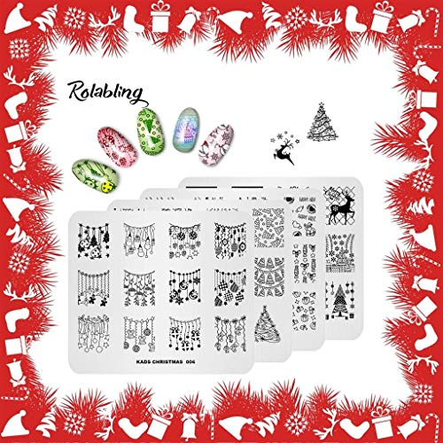 Rolabling 4pcs Christmas Image Plate Nail Stamping Plates Kit Cute Nail Stencils Image Template Nail Design Tools