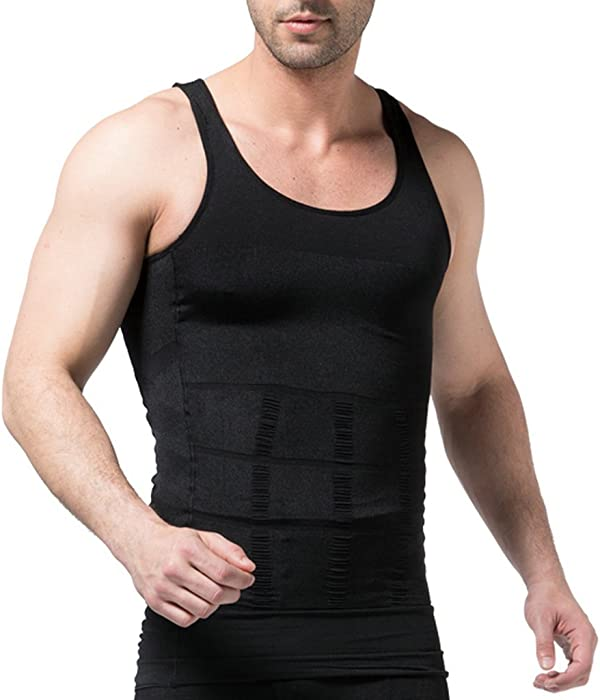 8fb7647c0b90c Amazon.com  Jiao Miao Mens Slimming Waist Body Shaper Vest Shirt ...