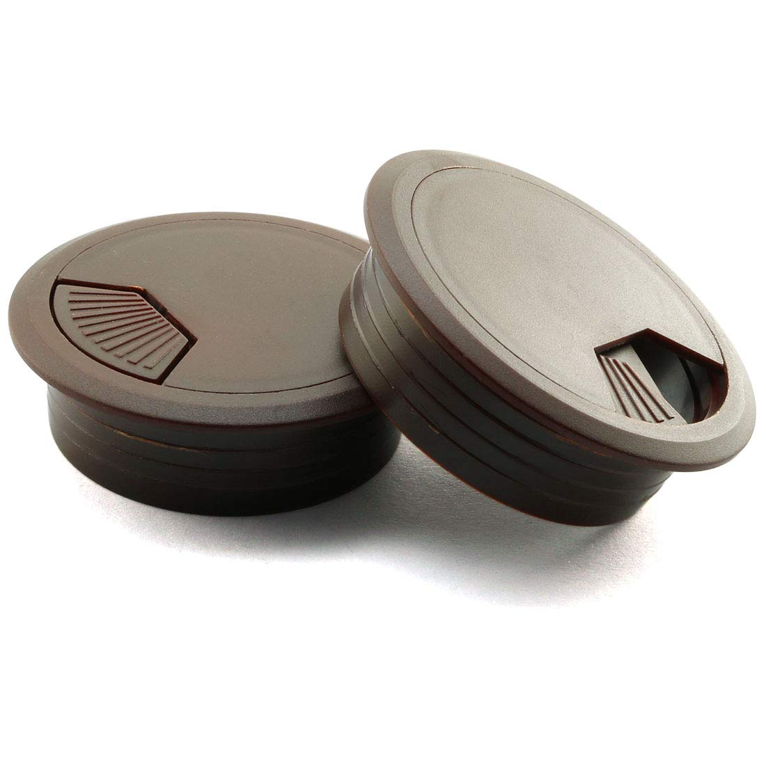HJ Garden 2pcs 2inch Desk Wire Cord Cable Grommets Hole Cover for Office PC Desk Cable Cord Organizer Plastic Cover(Dark Brown)