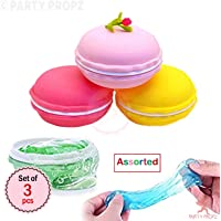 Party Propz Multicolour Colors 3 Pack Slime Macaroon kit,Kids Magic Slime Toy Jelly Toy Crystal Mud Putty Colorful Slime Clay Soft Squeeze Squishy Pudding Toy Stress Relief Slime Toys for Kids,Students,DIY Gift