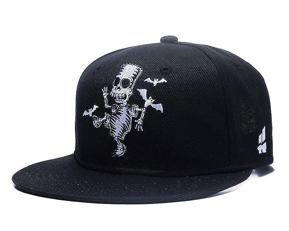 fc88c8312ec2d Quanhaigou Skull Zombie and Bats Embroidery Snapback, Unisex Hip Hop  Skeleton Adjustable Baseball Cap Fashion Flat Brim Hat at Amazon Men's  Clothing store
