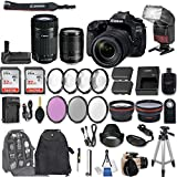 Canon EOS 80D DSLR Camera with EF-S 18-135mm f/3.5-5.6 IS USM Lens + EF-S 55-250mm f/4-5.6 IS STM Lens + 2Pcs 32GB Sandisk SD Memory + Automatic LED Flash + Battery Grip + Filter & Macro Kits + More