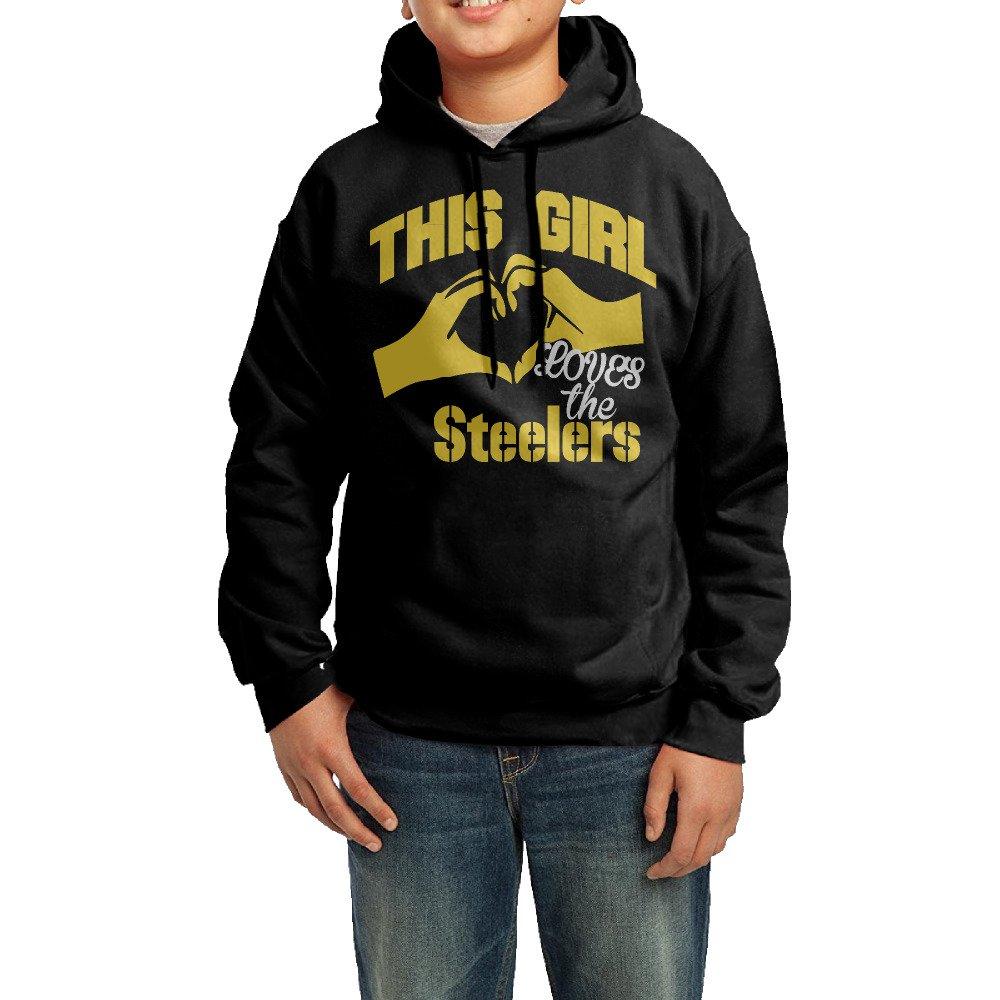 This Girl Loves Steelers Big Boy/Girl's Sweatshirt Black