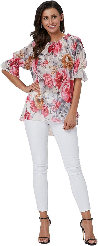 Landove Camisa Sin Hombros Mujer Cuello Barco Manga Abullonada Estampado Floral
