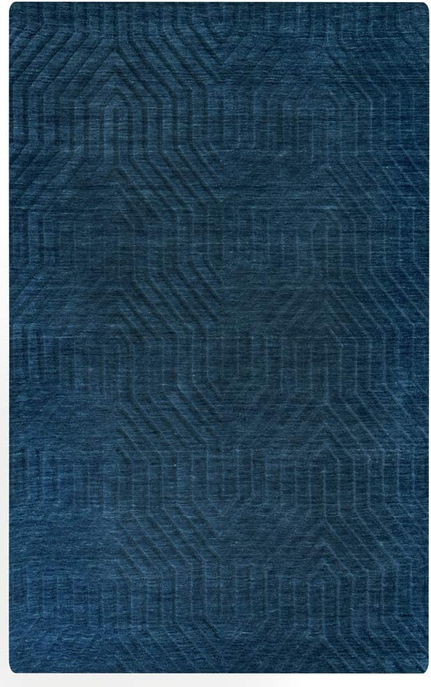 Rizzy Home Technique Collection Wool Area Rug, 3' x 5', Navy Solid