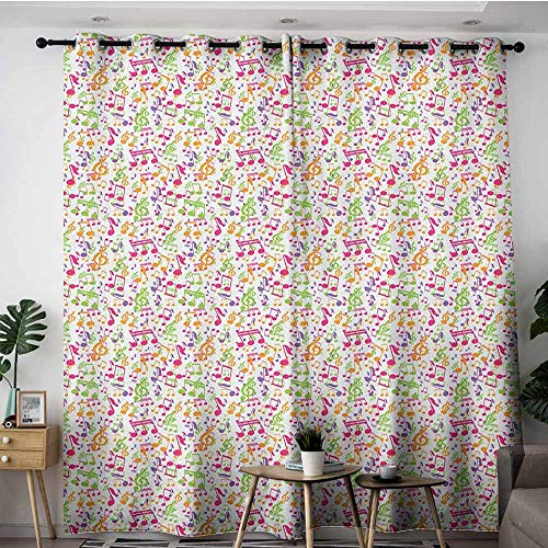 (AGONIU Window Curtain Panel,Music Inspirational Sound Vibes Theme Sonic Rhythm Melody Cheerful Musical Notes Print,Insulated with Grommet Curtains for Bedroom,W84x96L Multicolor)