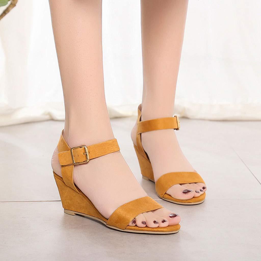 NDGDA Buckle Strap Roman Shoes Sandals Women Solid Wedges Heel Sandals