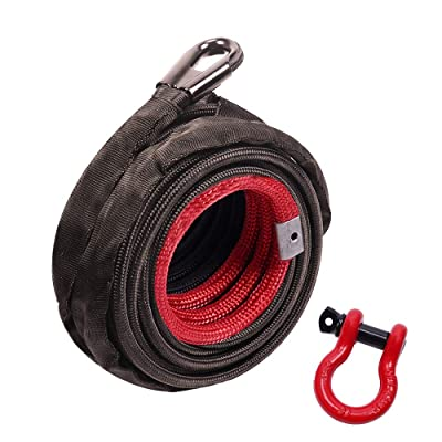"""ORCISH 3/8"""" x 100ft Dyneema Synthetic Winch Rope with Hook Car Tow Recovery Cable 20500Lbs: Automotive"""