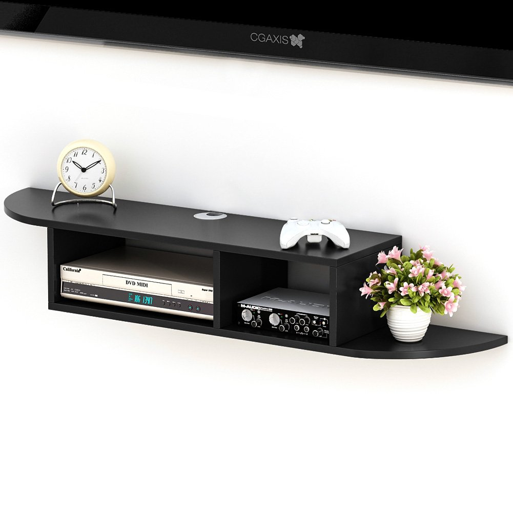 Tribesigns 2 Tier Modern Wall Mount Floating Shelf TV Console 43.3x9.4x7 inch for Cable Boxes/Routers/Remotes/DVD Players/Game Consoles (Black) by Tribesigns