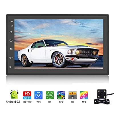 """Android 9.1 Car Stereo Double Din Car Radio with Bluetooth 7"""" Touch Screen Multimedia Player WiFi GPS FM Radio Receiver Universal Map APK MP5 Player Indash Head Unit 2 USB SWC with Rear View Camera: GPS & Navigation"""