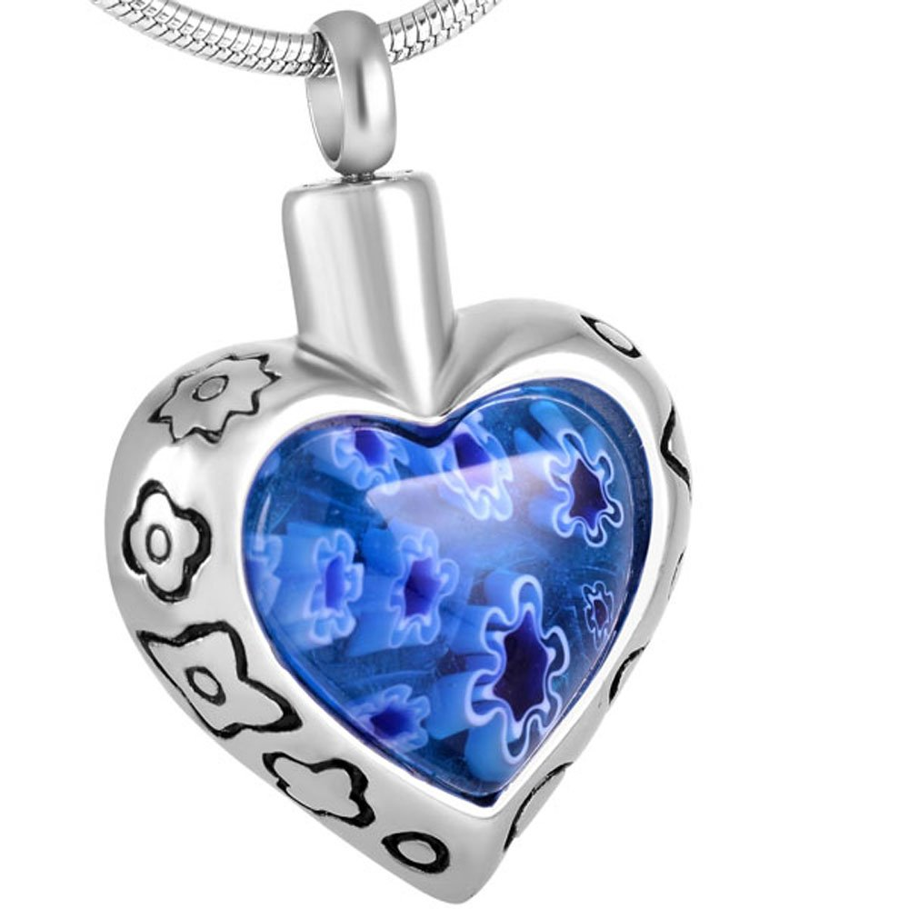 Millefiori Glass with Corful Flower Cremation Urn Jewelry Heart Memorial Neckalce Free Double Buckle Chain (Blue 8367)