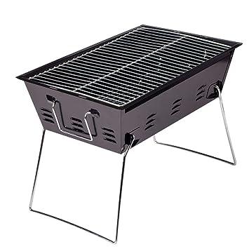 Xasclnis Parrilla Plegable portátil para Acampar Engrosamiento carbón Estufa de Barbacoa Estufa para Acampar de Acero Inoxidable (Color : Black): Amazon.es: ...