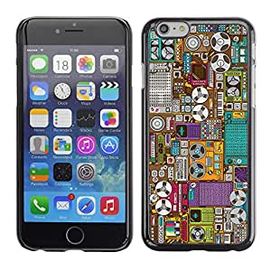 EJOY---Cubierta de la caja de protección la piel dura para el / Apple Iphone 6 Plus 5.5 / --Grabar Oldschool Máquina de dibujos animados
