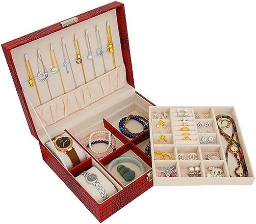Organizador de caja de joyas, estuche de cuero para joyas de viaje con cierre de seguridad y terciopelo, bandeja extraíble de textura suave y aterciopelada, para reloj con pendiente de collar rojo: